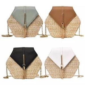 Straw Woven Hexagon Chain Crossbody Bag